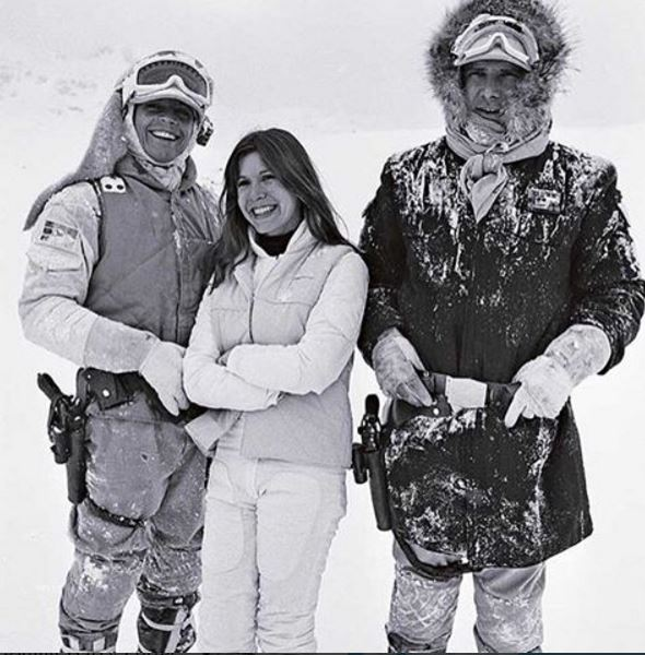 Carrie Fisher, Harrison Ford, an Mark Hamill on the set of Hoth.