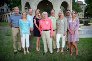 Quinn Barton '46 stands with his four children and their spouses. (Left to right) Tom Kimbrough and Dr. Margaret Barton '82, Quinn R. Barton III '84 and Lindsey Barton, Quinn R. Barton Jr. '46, Ellis Barton '87 and Stacey Barton, David Barton '90 and Susanna Barton.  Photo used by permission of Mr. Quinn Barton