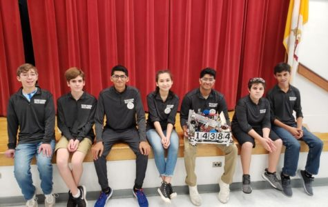 Part of the Robotics Team at a  competition (left to right: Cameron Gratz '23, William Schilling '24, Pranav Kasvaraju Aylar Orshava '23,  Aman Shaik '22, Liam Sanborn '23, and Stephano Hernandez '23 Phot credit: Pranav Kasavaraju '22