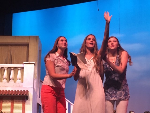 During Honey Honey, (left to right) Emily Lekas ('21), Katie Fites ('21), and Aynslee Hopkins ('21) perform about Sophie's possible dads.