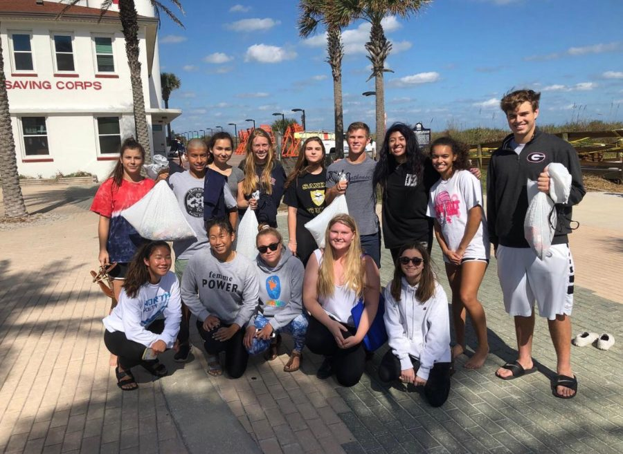 The Save Our Seas club at Jacksonville beach after their first beach clean up of the school year