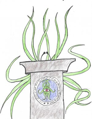 Huj is known for his dynamic, multi-tentacular speeches. Artwork by Atticus Dickson.