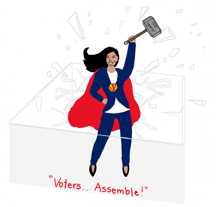 "When Harris was elected to be VP, she shattered the glass ceiling by being the first woman, Asian-American, and African American to take office. In this cartoon, she is seen breaking the glass ceiling with a hammer labeled ""100 years"" to reference 1920 and the 19th amendment, giving women the right to vote. Harris is shown with a cape, Thor's hammer, and the caption, ""Voters… Assemble!"" to depict her as a superhero because she is an inspiration for many across the country. My goal for this cartoon was to capture the role model Harris is to women across the country and to recognize that it has been 100 years since women's suffrage."