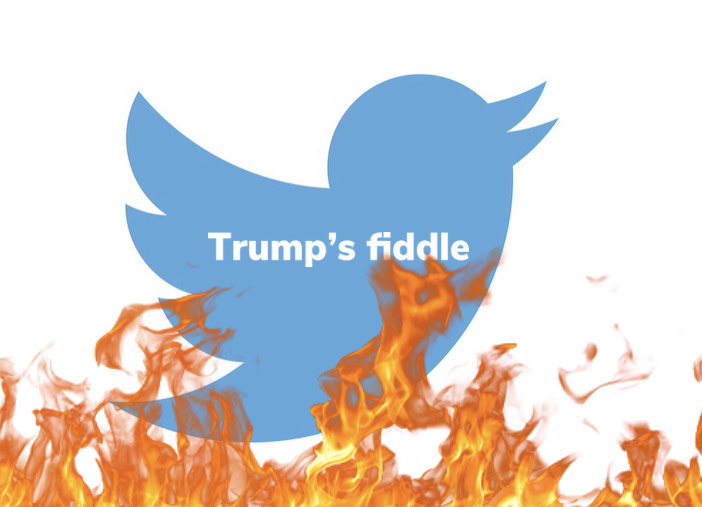 It is said that in the year 64 CE, Emperor Nero of Rome played his fiddle while the city burned. In other words doing a useless noise making activity while his citizens suffered. There is much speculation as to whether or not this actually happened, but nonetheless, it is an apt metaphor for President Trump's use of Twitter during the events of his term like COVID-19, the recent attack of the Capitol Building, and many more events.