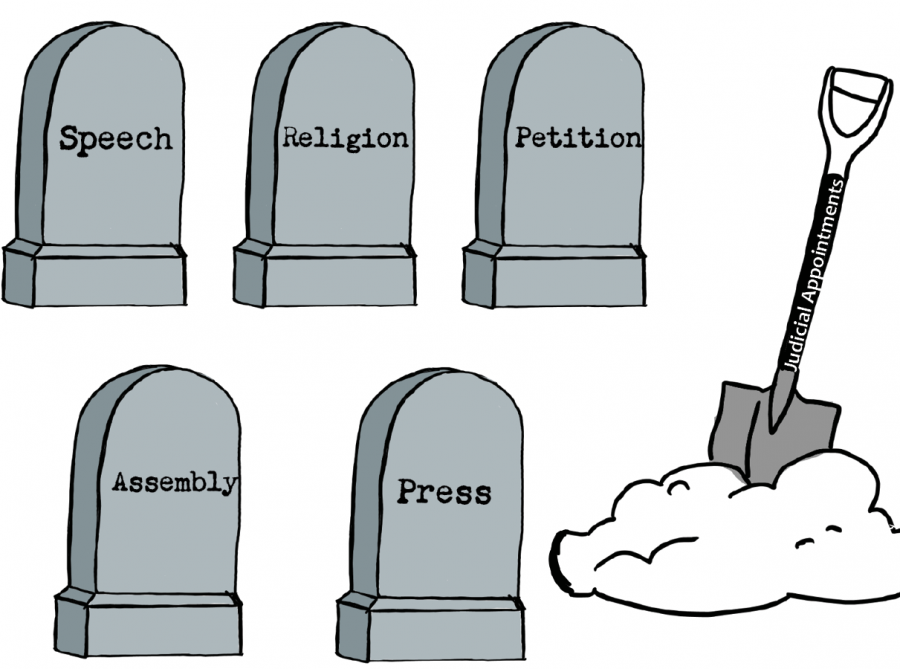 """During Amy Coney Barrett's Confirmation Hearing back in October, she was asked to name the 5 freedoms given under the First Amendment. She could only name 4 of them: Speech, religion, press, assembly. This cartoon symbolizes the death of the 5 freedoms since the newly appointed Supreme Court Justice could not even name the 5 freedoms given to every US citizen by the First Amendment. The shovel in front of the gravestones reads, """"judicial appointments"""" since President Trump has appointed 217 Supreme Court justices, federal circuit, and district judges in his presidency."""