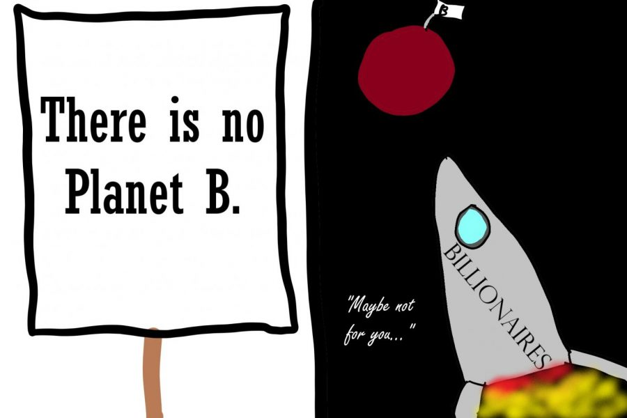 """There is no Planet B,"" is a popular environmentalist slogan, highlighting how humanity needs to protect the earth if we want to survive in the long term. However, billionaires like Elon Musk and Jeff Bezos have been investing heavily in space flight technology. In the future, they plan to sell tickets on these spacecraft to wealthy tourists, and eventually to s pace settlers. This cartoon portrays the inequality between most people, for whom there really is no Planet B, and the ultra-wealthy, for whom there might yet be.  Additionally, the  irony is that the people with the financial means to escape the earth are the ones most responsible for its pollution."