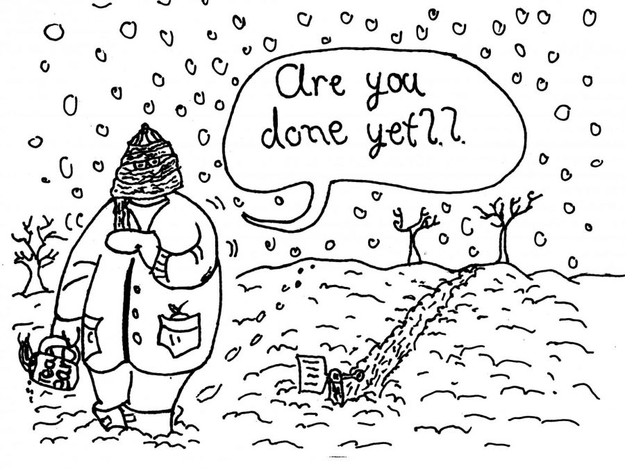 We've all been buried under a boat load of work, right? Or had a teacher stand over us, asking when we'll be done with an assessment or class worksheet? Like layers of snow, piling on during a snowstorm, homework began to pile on as the semester came to a close. In this cartoon, the teacher is able to easily walk over the snow, while the student has to trudge and grind his way through the mounds (i.e. his work), only given a tiny shovel, a small pencil among legions of paper and online documents, to help him on his way.