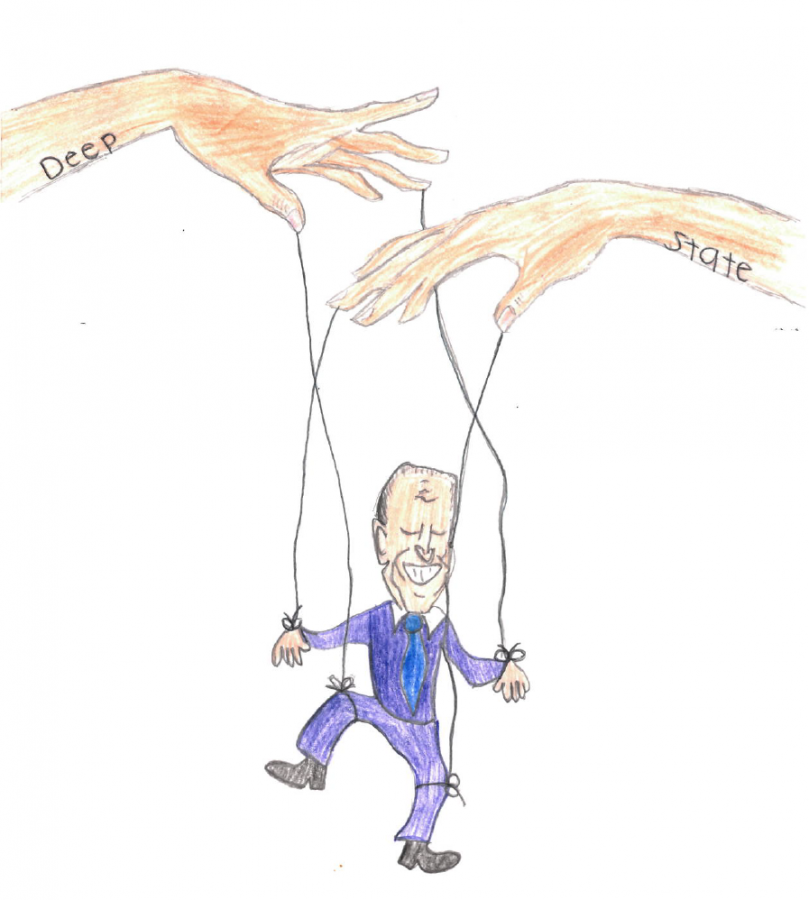 This cartoon depicts the idea that the Democratic Party is using President Elect (as of press time) Joe Biden as a puppet to carry out their own ideologies.  Many Americans believe, regardless of political party, that Biden will not make his own decisions in office, but rather represent the face of the Democratic Party.  Although one can argue that every president acts as a face for their political party, some believe that Biden's platform is being entirely controlled by others.