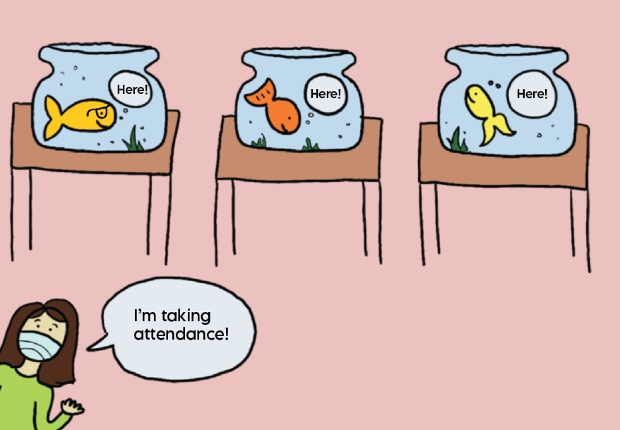 With the restraint of dividers, students may feel like they are in literal bubbles. While these safety restrictions are necessary, they can definitely cause a sense of disconnect in the classroom. Several teachers and students have equated the dividers to fishbowls, and this cartoon depicts what it's like to look at a classroom of students behind the clear screens. A teacher is shown taking attendance and fish representing students reply in bubbles.