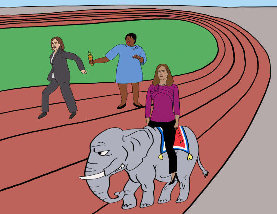 """Politics are like relay races in the sense that people on different """"teams"""" must work together to reach a certain goal. This cartoon, however, is critical of the Republican party, who carried Amy Coney Barrett to the finish line of being a Supreme Court Justice whereas Stacey Abrams is shown passing her torch onto Kamala Harris as they fairly compete."""