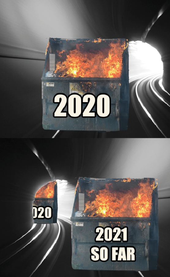 The top image, exhibit A, was made mid December of 2020, representing how 2020 was basically a dumpster fire but there is a light at the end of the tunnel - hoping for a better 2021. At the time of writing this, January 8 of 2021, things aren't looking too good; exhibit B, the image on the bottom.