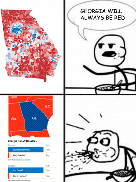 "Long has it been said that Georgia is one of the stereotypical ""red southern states"". I'd argue that only a small percentage of people that keep up with politics would've seen a switch like this coming - hence the man spitting out his cereal upon notice of the Georgia switch (both in overall state color as well as Senate seat color)."