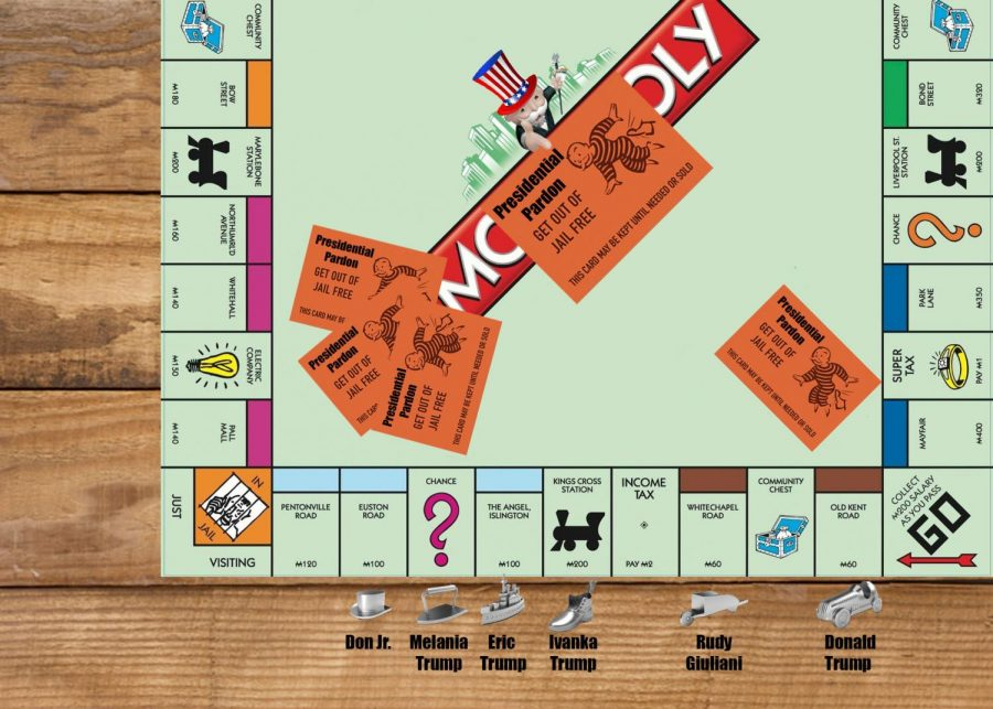 This cartoon depicts the idea that President Donald Trump could preemptively pardon himself, his family, and his business associates such as his attorney Rudy Giuliani. This idea of having a presidential pardon tucked away for a whenever you need to get yourself out of prison is comparable to one of my personal favorite board games: monopoly. In this game, you can pick up a card that can be used to get yourself out of jail whenever you want and that is exactly what Trump would be doing if he were to award himself a pardon. The clemency process will have become about granting favors to keep those you like as well as yourself above the law instead of carefully reviewing federal offenses and granting a second chance to someone who may merit it which was the original intent of the President's power to pardon.