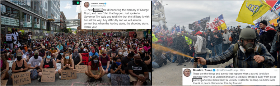 "This cartoon depicts two of Trump's tweets compared to the photos of the events they're describing and the difference of language used.  During the Black Lives Matter protests, Trump called the participants ""thugs"", even though the very large majority of protests were peaceful.  During the recent riot at the Capitol, he called the rioters ""patriots"".  However, those individuals were participating in the exact opposite of patriotism by attempting an attack on their own government.  They were violent, and four people died.  The cartoon points out Trump's blatant hypocrisy and support of the event."