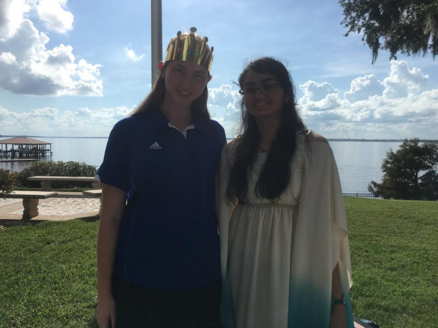 Emily Lekas ('21) and Ashmitha Arun ('21) at a Lower School event