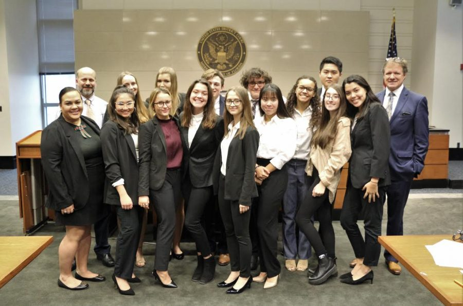 Mrs. Dividu (far left) with the Mock Trial team