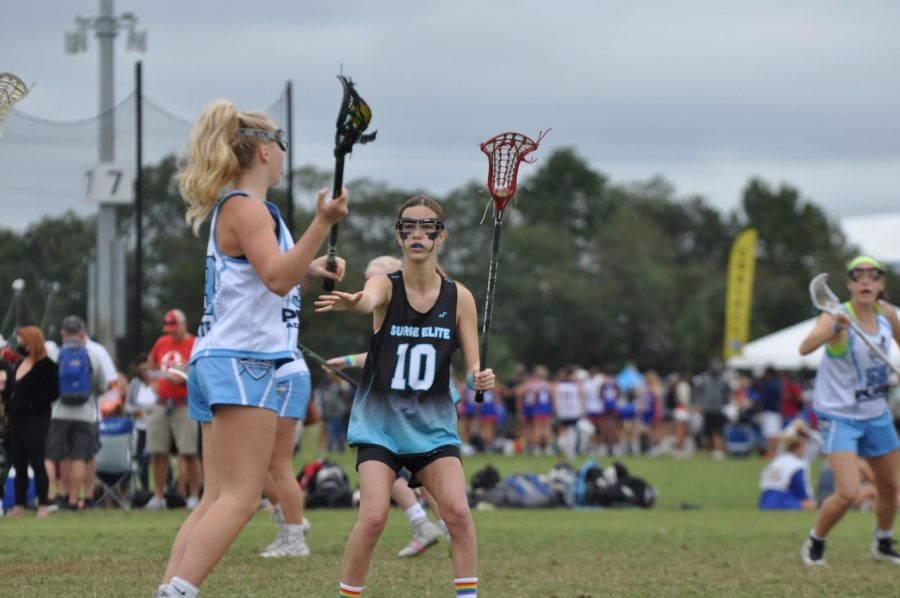 I am playing lacrosse with my club team this past November.